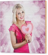Romantic Woman With Heart Shape Valentine Card Wood Print
