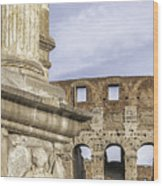 Rome Arch Of Titus Sculpture Detail Wood Print