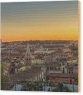 Rome At Sunset Wood Print