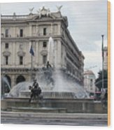 Rome Italy Fountain  Wood Print