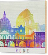Rome Landmarks Watercolor Poster Wood Print