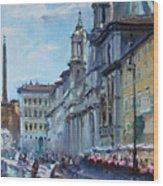 Rome Piazza Navona Wood Print