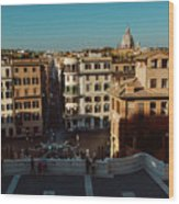 Rome Spanish Steps View Wood Print