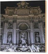 Rome, Trevi Fountain At Night Wood Print