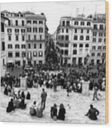 Rome View From The Spanish Steps Wood Print