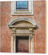 Rome Windows And Balcony Textured Wood Print