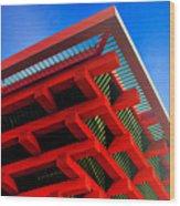 Roof Corner - Expo China Pavilion Shanghai Wood Print by Christine Till