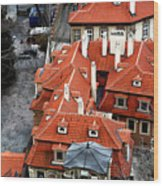 Roofs In Prague Wood Print by John Rizzuto