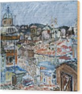 Roofs Of Rome Wood Print