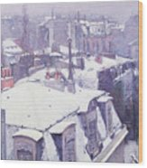 Roofs Under Snow Wood Print by Gustave Caillebotte