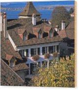 Rooftop In Geneva In Switzerland Wood Print