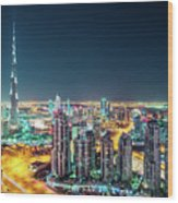 Rooftop Perspective Of Downtown Dubai Wood Print