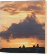 Rooftop Sunset 2 Wood Print