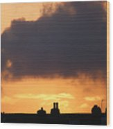 Rooftop Sunset Wood Print