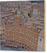 Rooftops And Cafes Of Il Campo Wood Print