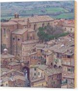 Rooftops Of Siena 2 Wood Print