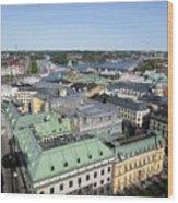 Rooftops Of Stockholm Wood Print