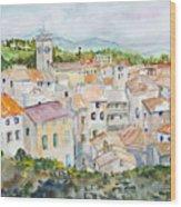 Rooftops Of Viviers Wood Print