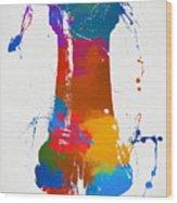 Rook Chess Piece Paint Splatter Wood Print