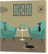 Room With Dark Aqua Chairs 2 Wood Print