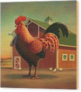 Rooster And The Barn Wood Print