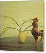 Rooster At Sunrise Wood Print