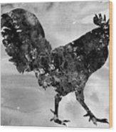 Rooster-black Wood Print