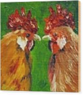 Rooster Face Off Wood Print