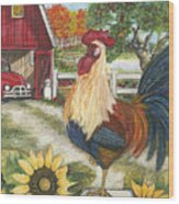 Rooster On The Apple Farm Wood Print