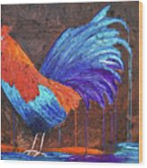 Rooster Painting Wood Print