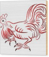 Rooster - Sign Of Chinese New Year Wood Print
