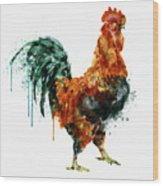 Rooster Watercolor Painting Wood Print