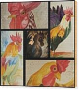 Roosters Wood Print