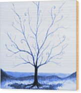 Roots Of A Tree In Blue Wood Print