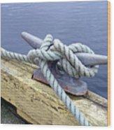 Rope And Bollard Wood Print