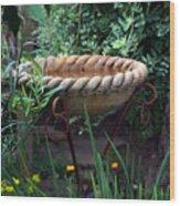 Rope Edged Bird Bath Wood Print