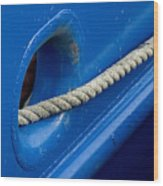 Rope Exiting Through The Bright Blue Wood Print