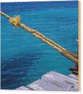Rope On Mooring Post Wood Print by Sami Sarkis