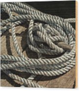 Rope On The Dock Wood Print