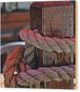 Rope On Wood Wood Print