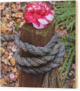 Rope Pillar And Camellia Wood Print