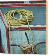 Ropes And Rusty Anchors On A Boat Deck Wood Print