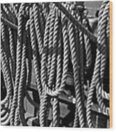 Ropes For The Rigging Bw 1 Wood Print