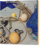 Ropes Nets And Bouys Wood Print