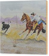 Ropin' A Dogie Wood Print
