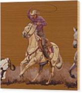 Ropin Pardners Wood Print