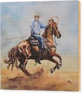 Roping Action Wood Print