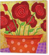 Rose-a-go-go Wood Print