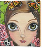 Rose Amongst The Butterflies Wood Print