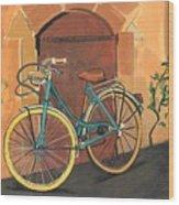 Rose And Bicycle Wood Print
